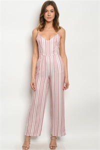 S15-10-4-J1054 RED STRIPES JUMPSUIT 3-2-1