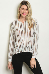 S18-10-3-T5091 OFF WHITE STRIPES TOP 4-2-1
