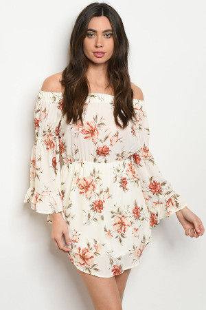 S13-3-2-D13675 IVORY FLORAL OFF SHOULDER DRESS 1-3-2