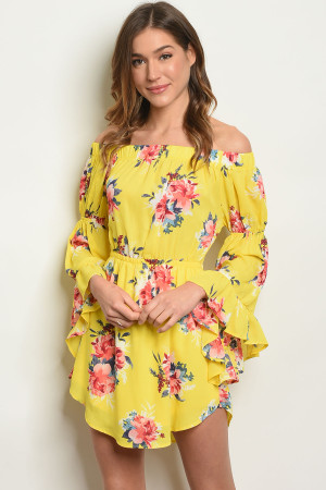 21f283d912a21d Quick View this Product S14-5-2-D13676 YELLOW FLORAL OFF SHOULDER DRESS 1-3-
