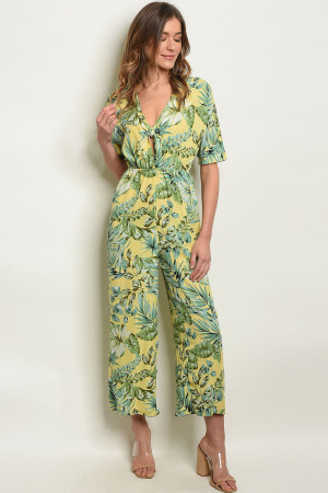S13-1-2-J13800 YELLOW WITH LEAVES PRINT JUMPSUIT 1-3-2