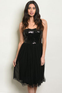 S17-11-1-D4874 BLACK WITH SEQUINS DRESS 1-1-1
