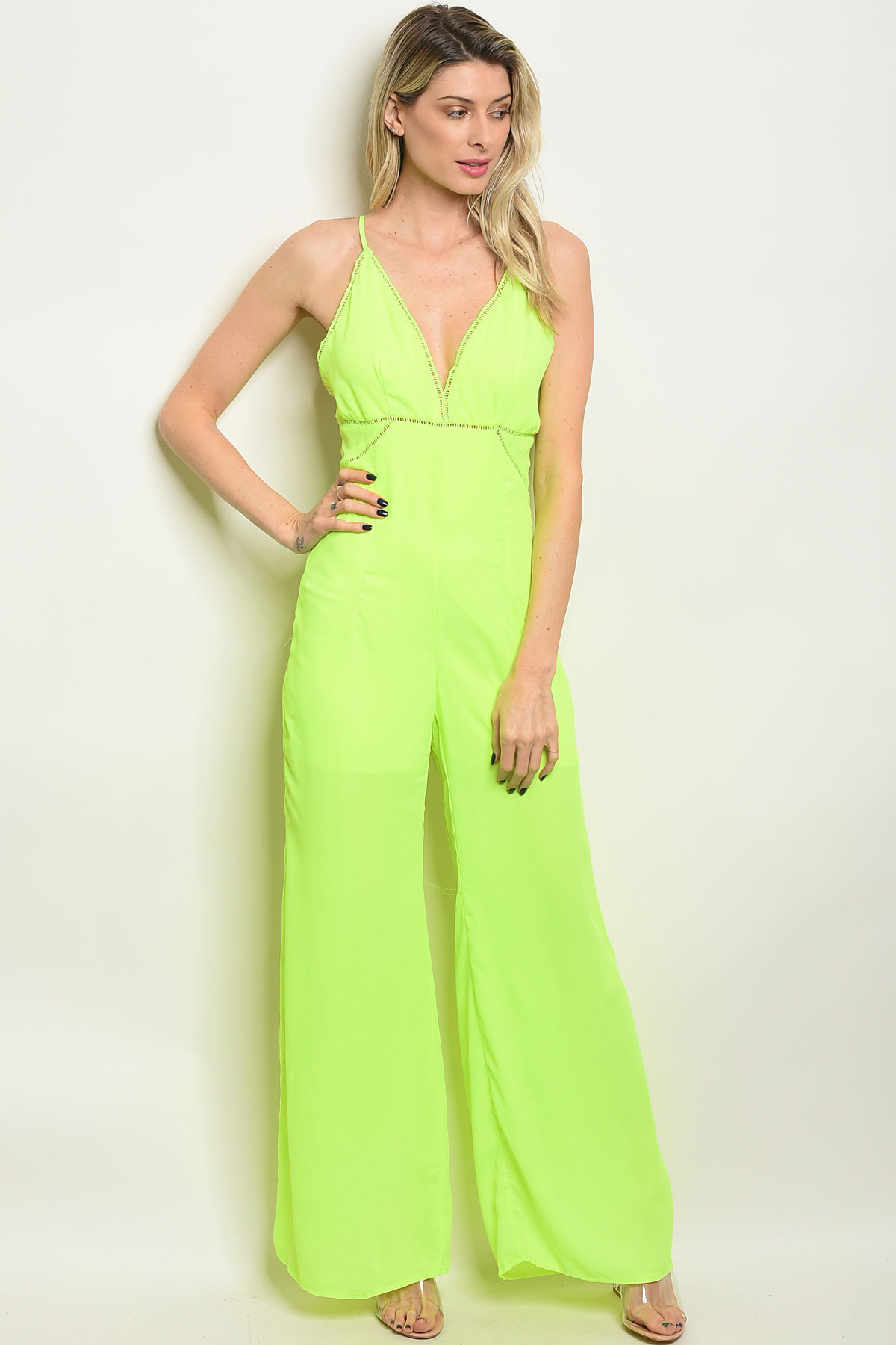 high fashion best cheap factory price S10-2-4-J6674 NEON YELLOW JUMPSUIT 2-2-2