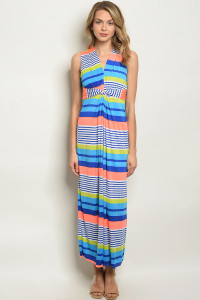 C66-A-1-D23233 BLUE STRIPES DRESS 3-2-1