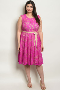 S17-1-3-D11160X MAGENTA NUDE PLUS SIZE DRESS 1-1-1