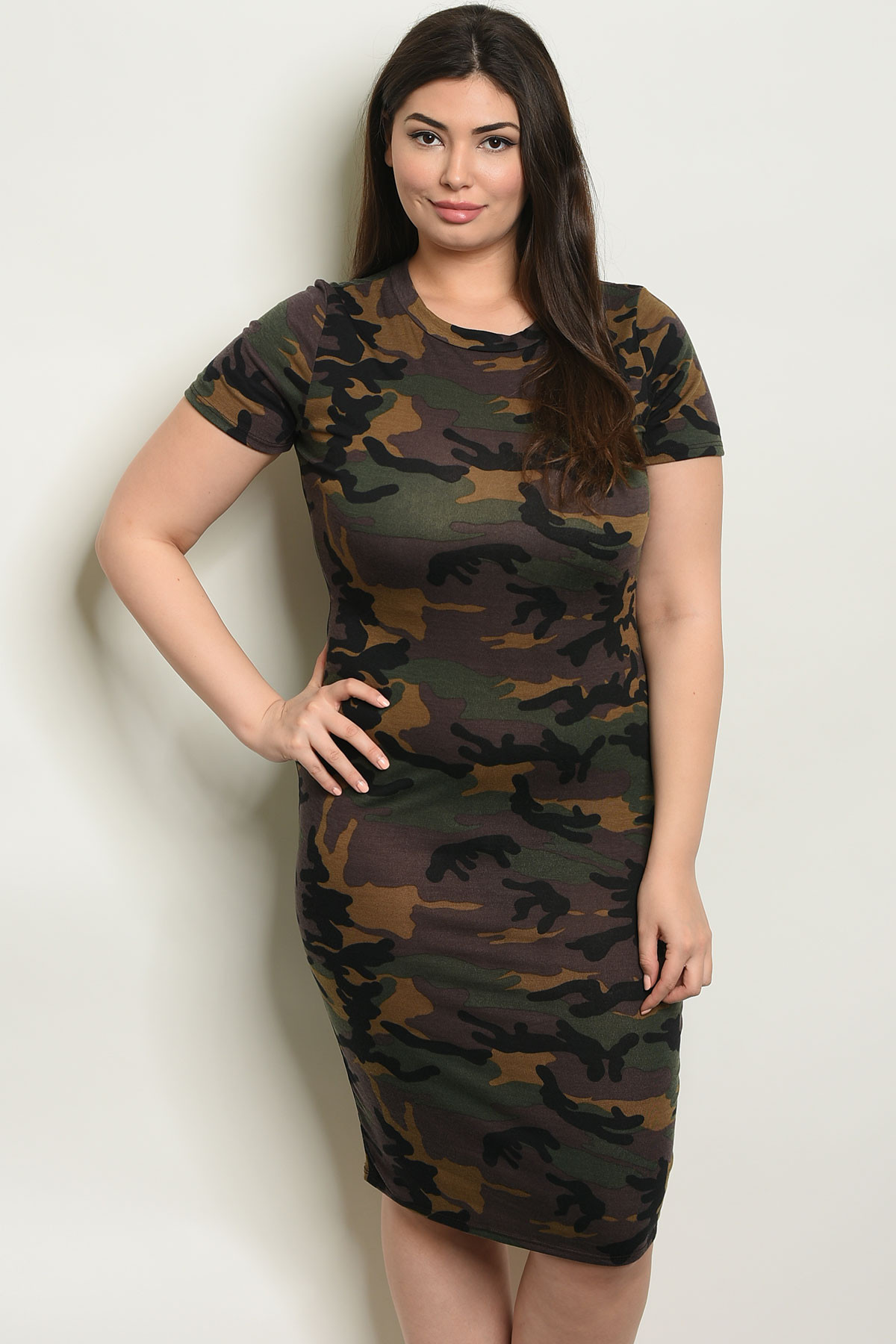 C41-A-1-D6299X OLIVE CAMOUFLAGE PLUS SIZE DRESS 2-2