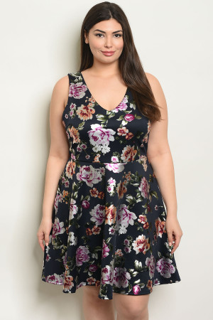 C76-A-4-D18123X NAVY WITH ROSES PRINT PLUS SIZE DRESS 2-2-2