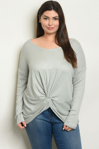 S98-B-5-T4172X SAGE PLUS SIZE TOP 3-2-1