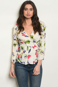 S17-3-4-T5002 IVORY FLORAL TOP 1-1-1