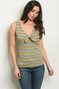 S10-9-2-T82951 MUSTARD STRIPES TOP 2-2-2