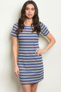 S9-18-4-D11290 BLUE STRIPES DRESS 2-2-2