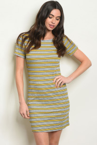 S9-18-4-D11290 MUSTARD STRIPES DRESS 2-2-2