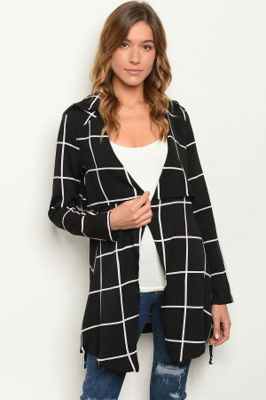 S18-1-1-J2357 BLACK CHECKERED JACKET 2-2-2