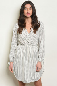S25-1-4-D2011 IVORY STRIPES DRESS 2-2-2
