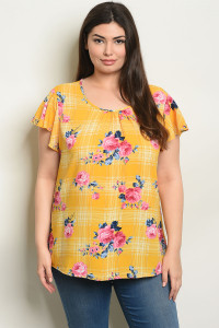 C67-B-4-T3982X MUSTARD FLORAL WITH CHECKERED PLUS SIZE TOP 2-2-2
