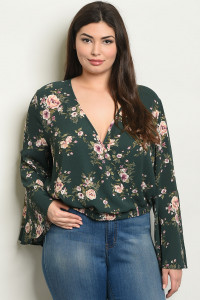 S23-11-5-T29293X GREEN FLORAL PLUS SIZE TOP 2-3-1
