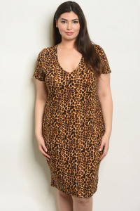 C64-A-1-D0813X LEOPARD PRINT PLUS SIZE DRESS 2-2-2