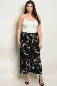 C67-A-4-P9574X BLACK WITH FLOWER PRINT PLUS SIZE PANTS 2-2-2