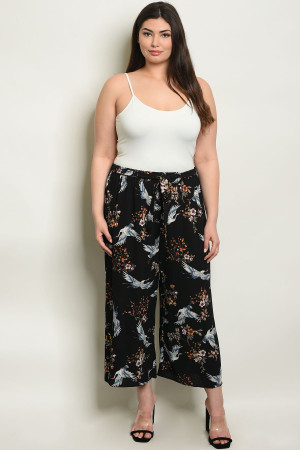 C74-A-1-P9574X BLACK WITH FLOWER PRINT PLUS SIZE PANTS 2-3-3