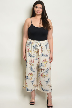 C71-A-3-P9574X CREAM WITH FLOWER PRINT PLUS SIZE PANTS 2-2-2