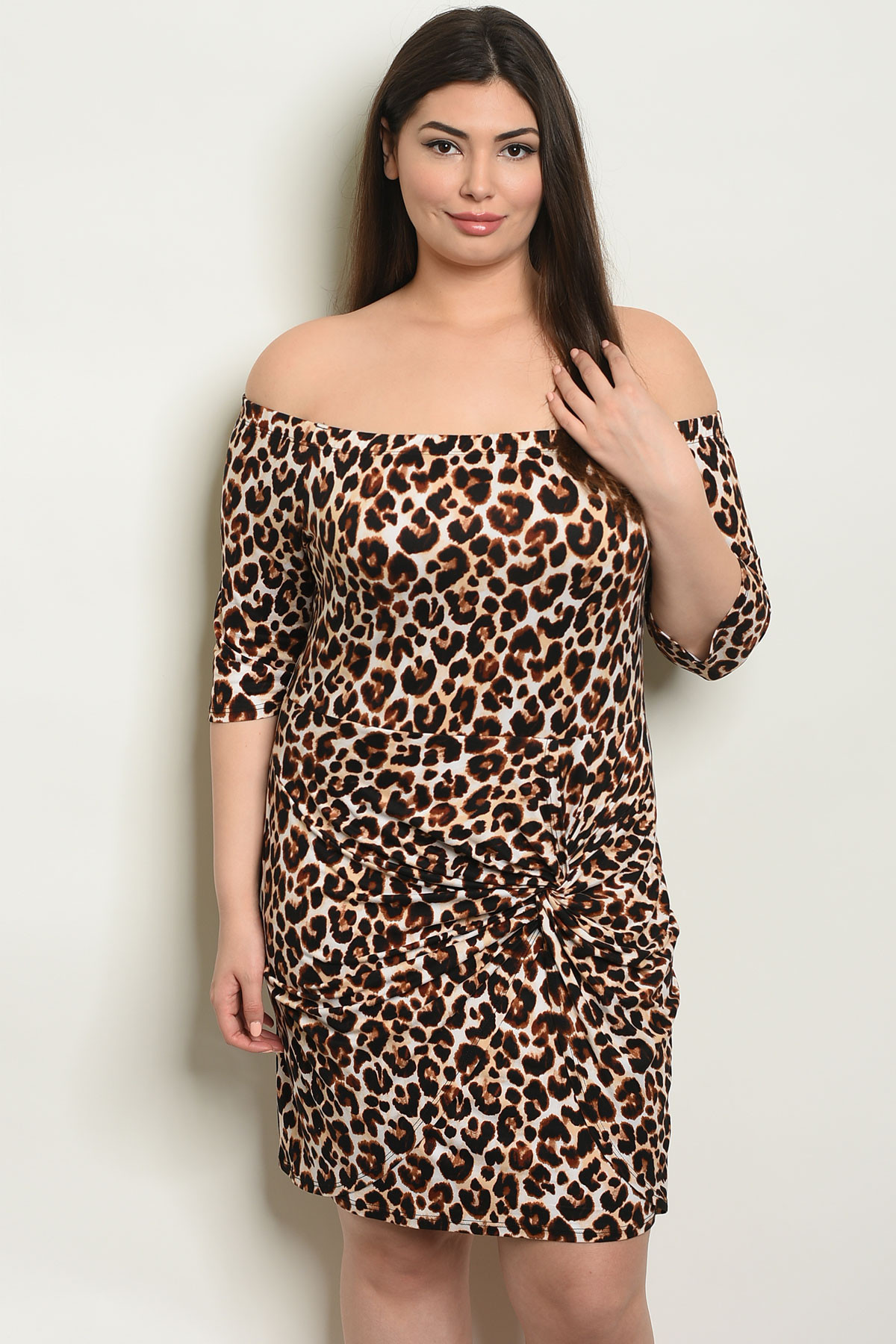 C84-A-7-D0707X BROW ANIMAL LEOPARD PRINT PLUS SIZE DRESS 2-2-2