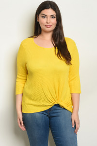 S17-5-1-T0904X YELLOW PLUS SIZE TOP 1-1-1