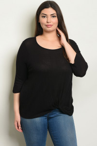 C84-B-7-T0904X BLACK PLUS SIZE TOP 2-2-2