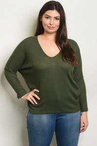 C94-B-6-T97471X OLIVE PLUS SIZE TOP 2-2-2