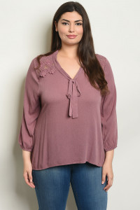 S9-8-4-T10023X MAUVE PLUS SIZE TOP 2-2-2