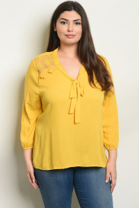 S8-3-3-T10023X MUSTARD PLUS SIZE TOP 2-2-2