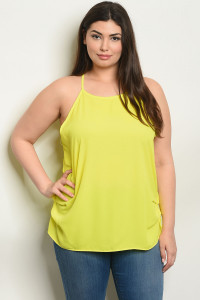 C98-B-2-T7704X LIME PLUS SIZE TOP 2-2-2