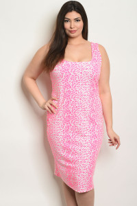 C96-A-5-D0847PX NEON PINK ANIMAL PRINT PLUS SIZE DRESS 2-2-2