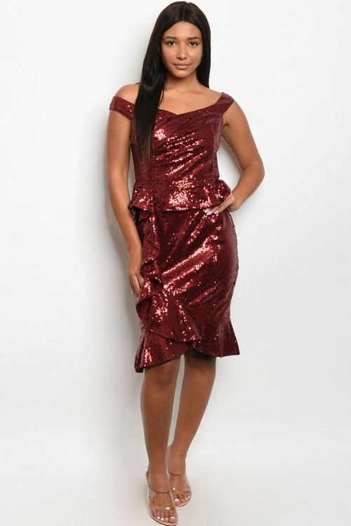 S5-3-1-D24507 BURGUNDY WITH SEQUINS DRESS 2-2-2  ***WARNING: California Proposition 65***