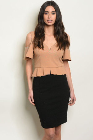 S5-3-2-SET24624 TAUPE BLACK TOP & SKIRT SET 2-2-2