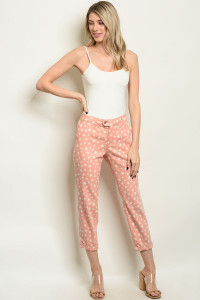 S15-9-1-P4997 PEACH WITH STAR PRINT PANTS 3-1-2-1