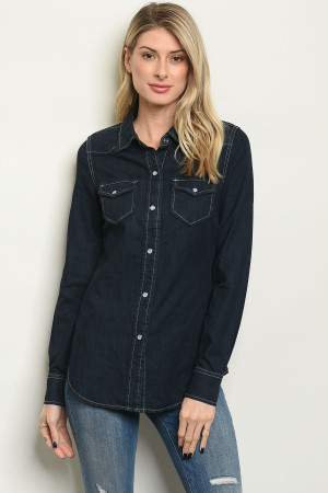 S14-7-2-T30470 DARK DENIM TOP 3-2-1