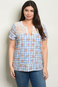 S24-4-5-T59279X BLUE CHECKERED WITH FLOWER PLUS SIZE TOP 2-2-2