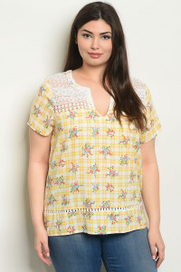 S19-4-4-T59279X YELLOW CHECKERED WITH FLOWER PLUS SIZE TOP 2-2-2