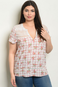 S24-4-5-T59279X MAUVE CHECKERED WITH FLOWER PLUS SIZE TOP 2-2-2