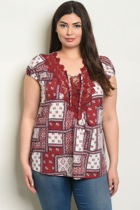 S9-17-4-T59416X BURGUNDY PRINT PLUS SIZE TOP 2-2-2