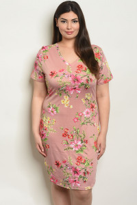 S14-1-5-D51451X MAUVE FLORAL PLUS SIZE DRESS 2-2-2