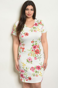 S14-1-5-D51451X WHITE FLORAL PLUS SIZE DRESS 2-2-2