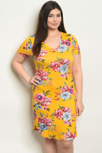 S9-17-4-D51441X MUSTARD FLORAL PLUS SIZE DRESS 2-2-2