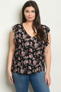 S9-17-4-T10198X BLACK FLORAL PLUS SIZE TOP 2-2-2