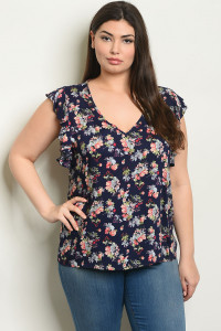S18-5-5-T10198X NAVY FLORAL PLUS SIZE TOP 2-2-2