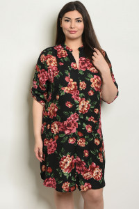 S9-19-3-D25545X BLACK FLORAL PLUS SIZE DRESS 2-2-2