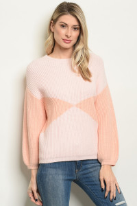 S21-2-2-S0105 PINK PEACH SWEATER 3-2-1