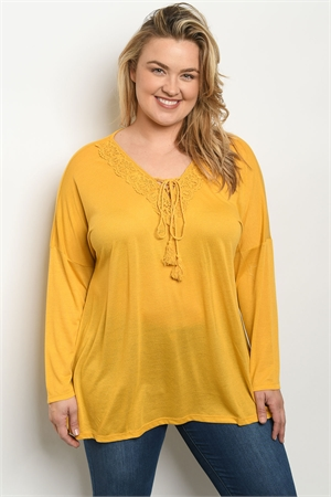 S16-12-2-T587X MUSTARD PLUS SIZE TOP 3-2-2