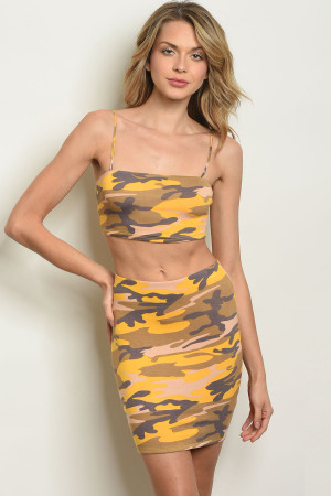 C85-B-1-SET14954 MUSTARD CAMOUFLAGE TOP & SKIRT SET 2-2-2