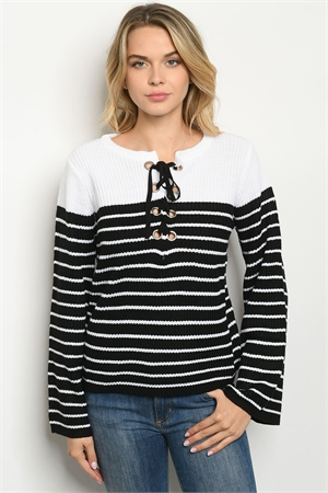 S8-13-4-S70462 BLACK WHITE STRIPES SWEATER 4-2